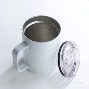 12oz 승화 블랭크 커피 머그잔 손잡이 뚜껑 빈 열 전사 텀블러 스테인레스 스틸 마시는 컵 바다 t2i52220