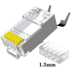Connector Network Cable 10Pcs Cat7 RJ45 1.5mm Cat 7 Crystal Plug Shielded FTP Modular Computer Cables & Connectors