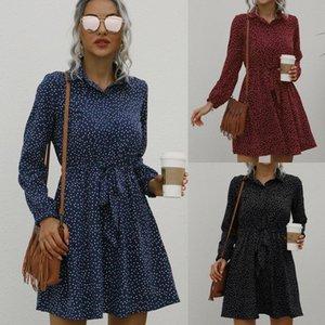 Frauen herbst polka dot casual lade long sleeve revers schnüren up slim casual school einkaufen reisen urlaub kurze a-line kleid