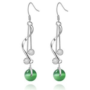 Unique 925 Silver Beautiful Long Dangle Earrings Lady Green Gems Holiday Party gift Jewelry 3527 Q2