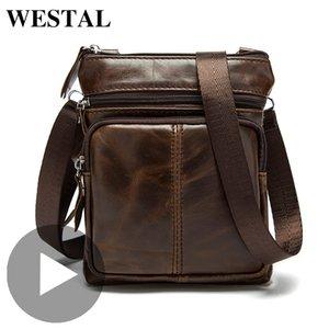 Westal Shoulder Messenger Women Men Bag Genuine Leather Office Work Business Briefcase For Handbag Male Female Portafolio Retro LJ200930