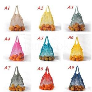Home Aufbewahrungstaschen Wiederverwendbare Einkaufstasche Obst Gemüse Lebensmittelgeschäft Tote Mesh Net gewebt Baumwolle Handtaschen A B-Stil BWD7671