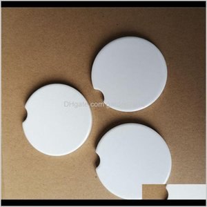 Tea Trays Teaware Kitchen, Dining Bar Home & Garden Drop Delivery 2021 Sublimation Car Ceramics Coasters 6Dot6*6Dot6Cm Transfer Printing Coas