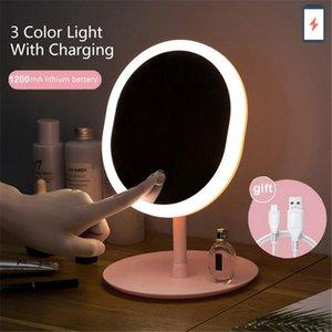 المرايا المدمجة مرآة ماكياج مع أضواء led قابل للتعديل ثلاثة أوضاع الدائمة المكبر لمس الشاشة الجدول مكتب الغرور