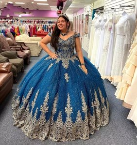 Navy Blue Glitter Quinceanera Dresses Off the Shoulder Gold Floral Applique Sweet 15 Gown Beaded Tulle Quince Party