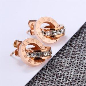 Роскошные ювелирные изделия дизайнерские ювелирные наборы для женщин розовые золотые цветные двойные кольца ушные серии ожерелье титановые стальные наборы Горячие моды 1133 Q2