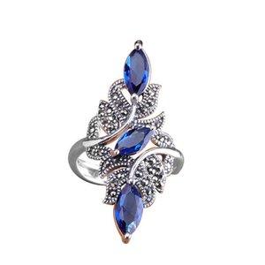 Anillo de bodas de moda clásico exquisito azul circón hembra 2021 anillos de regalo de año de joyería
