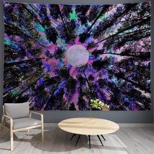 Psychedelic nevoento floresta tapeçaria parede pendurado hippie parede tapeçaria tapeçaria decoração decoração parede tapetes cadeia tapestry