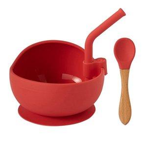 Bowls Baby Silicone Bowl Set With Straw Non-Slip Children's Suction Sucker Spoon Grade Tableware