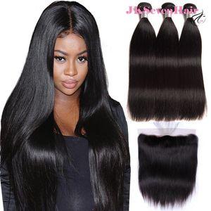 Необработанные девственницы бразильские наращивания человеческих волос 3 шт. С 13x4 дюйма кружева в верхнем классе Прямые малайзийские перуанские индийские плакаты развязки