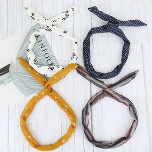 Women Girls Iron Wire Printed Cloth Hair Band DIY Colorful Bow Home Wash Face Hairband Rabbit Ear Wrapped Headband DH1391 T03 SR16