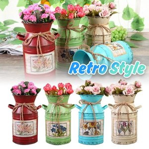 Vintage Metal Flower Vase Iron Bucket Plant Pot Arrangement Craft Rural Head Vases Decorations For Home Gift Wedding