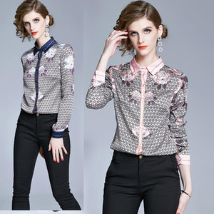 Spring Summer Fall Runway Vintage Floral Print Collar Button Long Sleeve Womens Ladies Party OL Casual Top Shirt Blouse Women's Blouses & Sh
