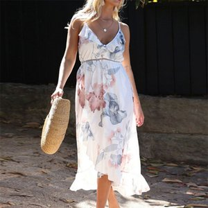 Irregular Ruffles Suspenders Maternity Dresses Easy Deep V Printing One-Piece Dress Ink And Wash Color Brace 29ys T2