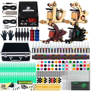Dragonhawk Tattoo Kit 4 Guns 40 Color Inks Power Supply Needles Tips with Carry Case D139GD-16