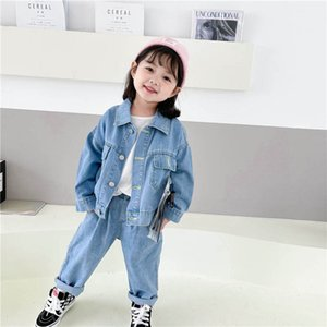 Clothing Sets Girls Outfits Baby Clothes Kids Suits Children Spring Autumn Denim jacket Jeans Pants 2Pcs Casual 1-6T B4515