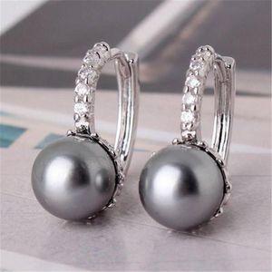 Elegant Imitation Pearl Silver Color Hoop Earrings For Women Jewelry Wedding Brincos Engagement Statement Earings Gifts & Huggie