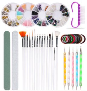 Full Manicure Set Brushes Pen For nail art kit With foil sticker and nails dotting tips files dust remove brush