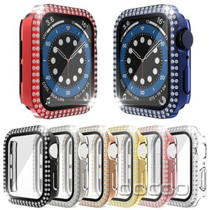 Dual Bling Diamond Screen Protector Cases Protective PC Bumper For Apple Watch iWatch series 6 5 4 3 44mm 42mm 40mm 38mm
