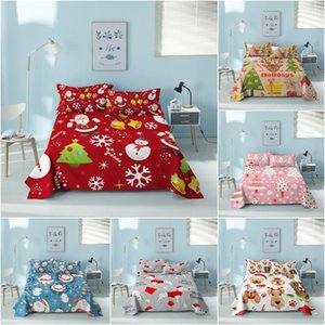 Sheets & Sets Cartoom Santa Claus Snowman Bed Sheet King Christmas Flat With Case Bedspread On The Bedroom Decor