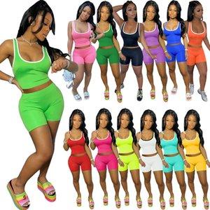 VERANO MUJERES CORTO 2 Pieza Set Sexy Color Sólido Chaleco Shorts Traje Sin mangas Sportswear Slim Shirt Pantalones cortos Pantalones Traje