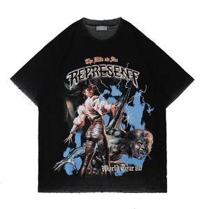 2021 Primavera Verão EUA Casual Horror Monster Filme Imprimir Tee Homens Camiseta Mulheres Manga Curta Streetwear Algodão Tshirt