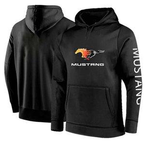 Spring Autumn Mustang Car Print Long Sleeve Pullover Fleece Cotton Sweatshirts Casual Fashion Hip Hop Coats