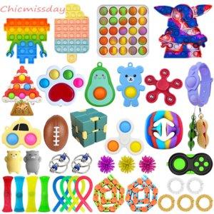 Push Bubble Fidget Toys Набор антисрезов строки рельефные взрослые дети сенсорные душистые антистрессовые игрушки упаковывают подарки день рождения