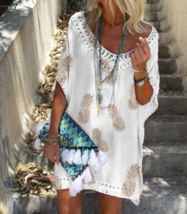 Spot 2021 summer European and American V-neck short sleeve lace stitching Printed Dress