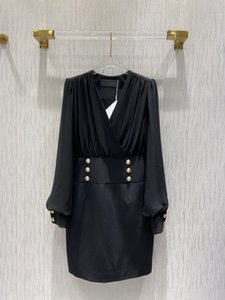 2021 Autumn Long Sleeve V Neck Fashion Milan Runway Dresses Designer Dress Brand Same Style Dress 0925-3