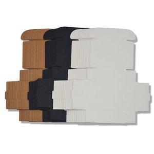 50pcs Black White Kraft Paper Folding Blank Cardboard Packaging Mini Handmade Soap DIY Craft Jewelry Gift Box 210401