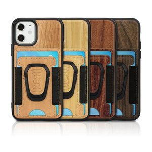 Wood Phone Case Hard PC TPU Wooden Cases For Iphone 12 11Pro Max XR XS X 8 7 PLUS Leather Card Pocket Support Magnetic Car Mount Holder Cover