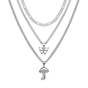 S2422 Fashion Jewelry Women Multi Layer Necklace Mushroom Pendant Choker Necklaces