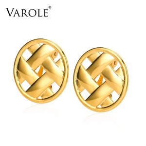 VAROLE Weaving Design Stud Earrings Hollow Gold Color Earring For Women Wholesale Fashion Jewelry Gift Kolczyki
