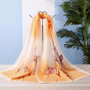 Magia Scarves Magpie Primula Chiffon Primavera e Outono Silk Atacado Pequeno Pequeno xale Bdsytd Lenço Feminino Presentes