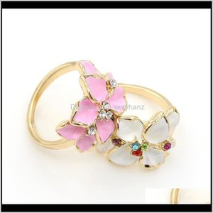 Cluster Rings Jewelry Drop Delivery 2021 Foreign Trade Cute Retro Gardenia Flowers Crystal Oil Painting Ring For Women And Girl Lgmsr