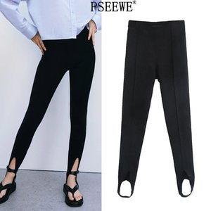 Pseewe-Leggings Cintura Alta Para Mujer, Pantalones De Tubo Ajustados Bsicos, Moda Femenina, Color Negro