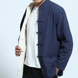 Mens Cotton Linen Long Sleeve Two Sided Traditional Chinese Clothes Tang Suit Top Jacket Coat For Men Uniform Outfit