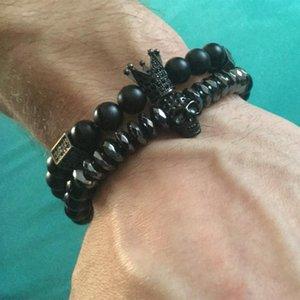 Supersix Titanium Steel Skull Bracelet Crown Nature Stone Noir Onyx Perles Bijoux Pulseira Fit Hommes Femmes Cadeau Charme Bracelets