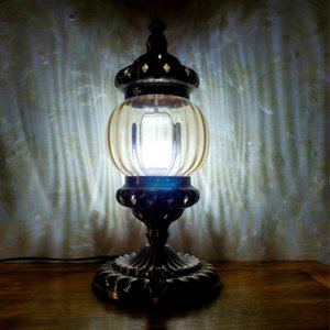 Table Lamps Turkish Retro Glass Lamp Coffee Restaurant American Classic Desk For Bedroom Bedside Lightings