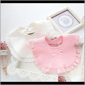 Hair Baby, Kids & Maternity Drop Delivery 2021 Lace Cotton Girls Infant Bandana Saliva Towels Baby Princess Bibs Born Babador Feeding Smock C