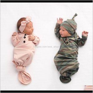 15057 Europe Baby Infant Bag Kids Camouflage Sleeping Bags Blanket Child Cotton Pajamas Nightclothes Headband Hat Acxpa 04Yty