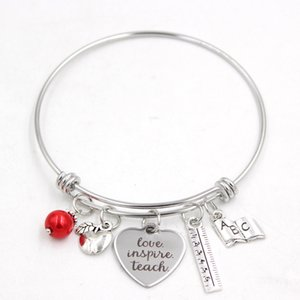 Wholesale Stainless Steel Adjustable Wire Book Ruler Teacher Charm Bracelet Bangle Women Jewelry Teachers Gift