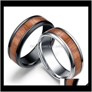 8Mm Vintage Wood Inlay Stainless Ring, Auniquestyle Men Engagement Rings For Women Wedding Band Fashion Jewelry Hyiej Golam