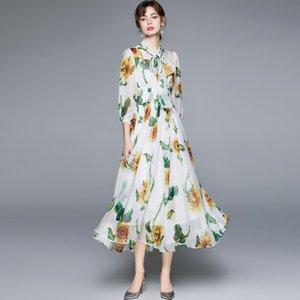 Платье для печати подсолнечника 2021 мода шифон платья шарф шеи 3/4 длинный фонарь рукава женщин повседневная одежда