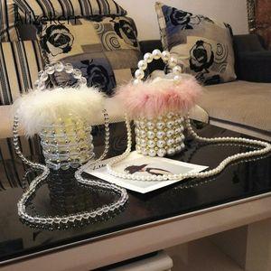 Totes Faux Fur Pearl Evening Bag Women Retro Handmade Clear Beaded Small Clutch Bucket Handbag Ladies Shoulder Wedding Party