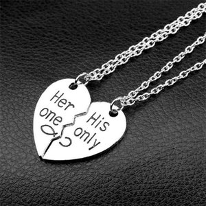 Lover Heart Pendant Broken 2021 Necklace Hand Day Necklace Jewelry For Gift Couple Valentine's Stamped Omxix
