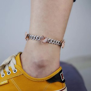 Hot New Arrivel Anklet Bracelet Butterfly CZ Ankle Chain for Women Jewelry Butterfly Pendant Foot Chains
