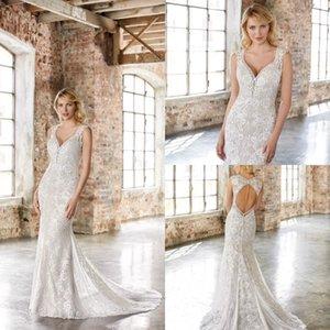 Mermaid Wedding Dresses V Neck Lace Applique Wedding Dresses Hollow Back Sweep Train Bridal Gowns Vestidos De Novia