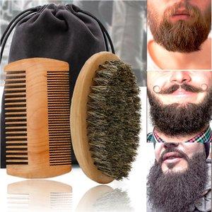 Высококачественные мягкие кабаны щетина древесина борода кисть парикмахерская машина для бритья мужские усы щетки набор с подарочной сумкой